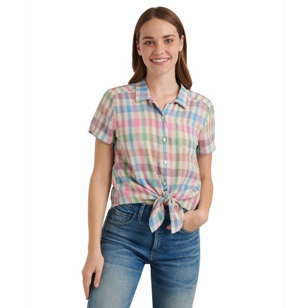 ラッキーブランド レディース シャツ トップス Short Sleeve Button-Up One-Pocket Tie Front Shirt Multi