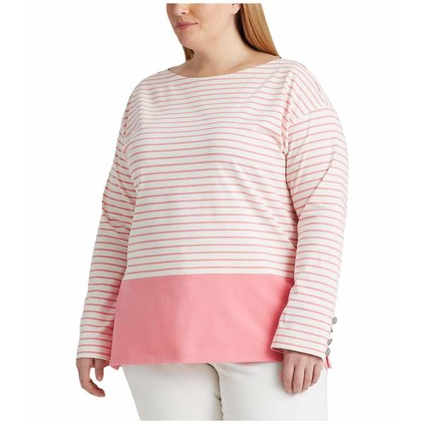 ラルフローレン レディース シャツ トップス Plus Size Striped Cotton Jersey Top Mascarpone Cream/Pink Quartz