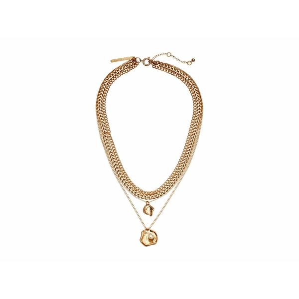 レベッカミンコフ レディース ネックレス・チョーカー・ペンダントトップ アクセサリー Organic Metal and Pearl Multi Strand Necklace Gold
