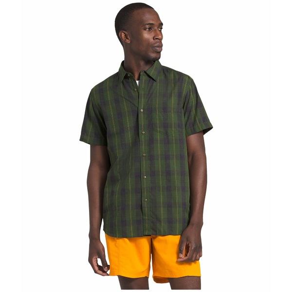 ノースフェイス メンズ シャツ トップス Short Sleeve Hammetts Shirt II English Green Foothill Plaid