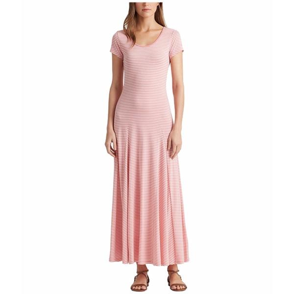 ラルフローレン レディース ワンピース トップス Striped Cotton-Blend Maxi Dress Pink Quartz/Mascarpone Cream