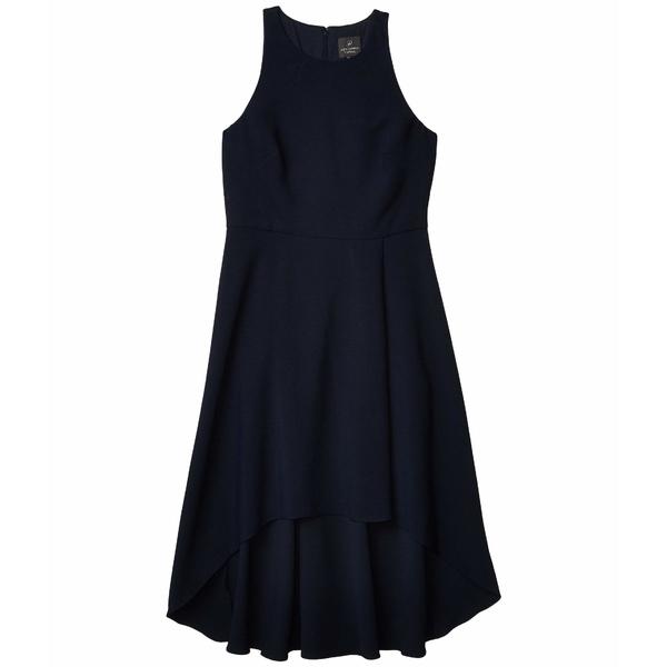 アドリアナ パペル レディース ワンピース トップス Pleat Detail High-Low Crepe Dress Blue Moon