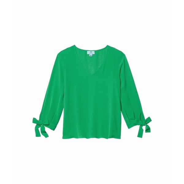 セセ レディース シャツ トップス 3/4 Sleeve V-Neck Blouse with Sleeve Ties Jasmine Green