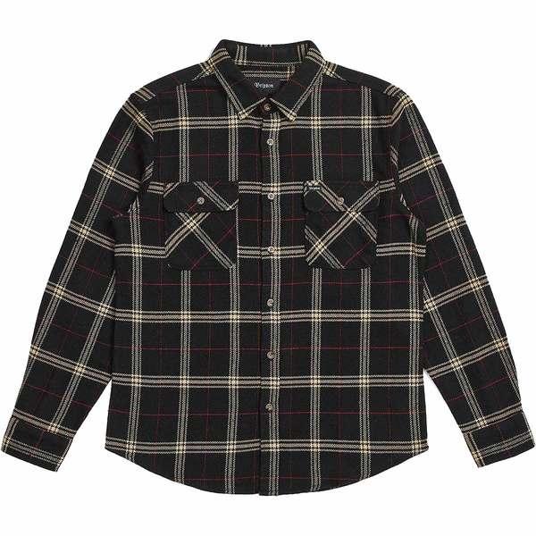 ブリクストン メンズ シャツ トップス Bowery Long-Sleeve Flannel Shirt - Men's Black/Ivory