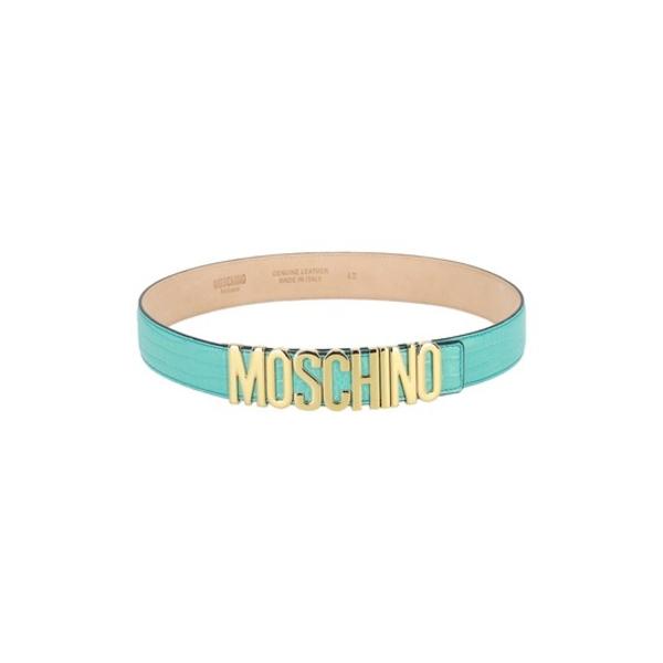 BLUE モスキーノ Logo Belt ベルト アクセサリー Leather Snake Embossed LIGHT Thick レディース