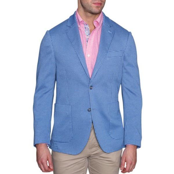 アウター Fit BLUE Two Notch Coat テーラーバード Knit Blue Stretch Houndstooth Lapel Button メンズ Sport Modern ジャケット&ブルゾン