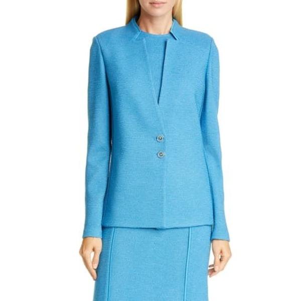 コレクション Jacket Inverted Pebbled LAGUNA ジャケット&ブルゾン ジョン BLUE セント Wool アウター Textured Knit レディース Blend