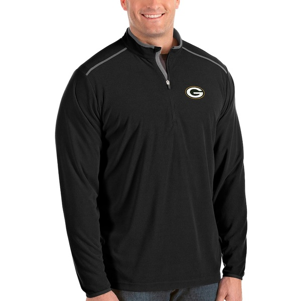 アンティグア メンズ ジャケット&ブルゾン アウター Green Bay Packers Antigua Glacier Big & Tall Quarter-Zip Pullover Jacket Black