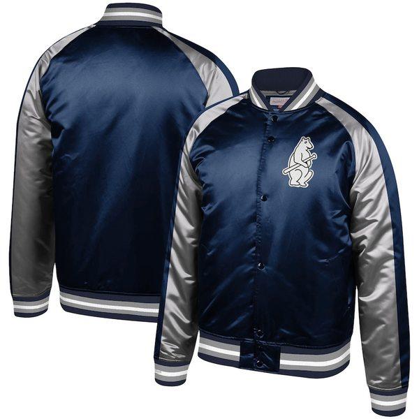 ミッチェル&ネス メンズ ジャケット&ブルゾン アウター Chicago Cubs Mitchell & Ness Colorblocked Satin Raglan Full-Snap Jacket Navy