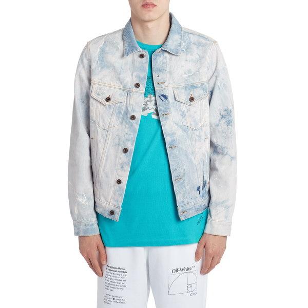 オフホワイト メンズ ジャケット&ブルゾン アウター Arrows Slim Crop Denim Jacket Extreme Bleach