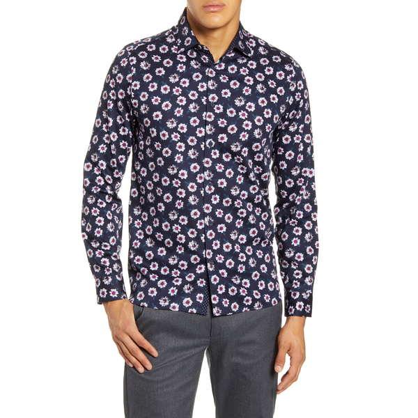 テッドベーカー メンズ シャツ トップス Wewill Floral Button-Up Shirt Navy