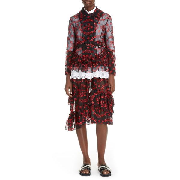 シモーネ・ロシャ レディース ジャケット&ブルゾン アウター Delft Floral Double Breasted Tulle Jacket Black/ Red