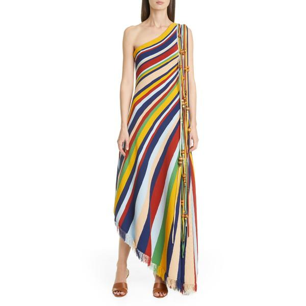 オスカー デ ラ レンタ レディース ワンピース トップス Tassel One Shoulder Asymmetrical Maxi Dress Multi