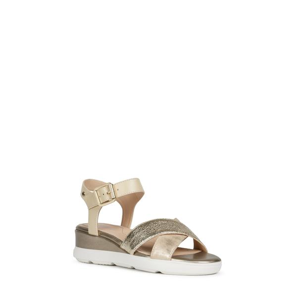 ジェオックス レディース サンダル シューズ Pisa Wedge Sandal Gold/ Sand Leather