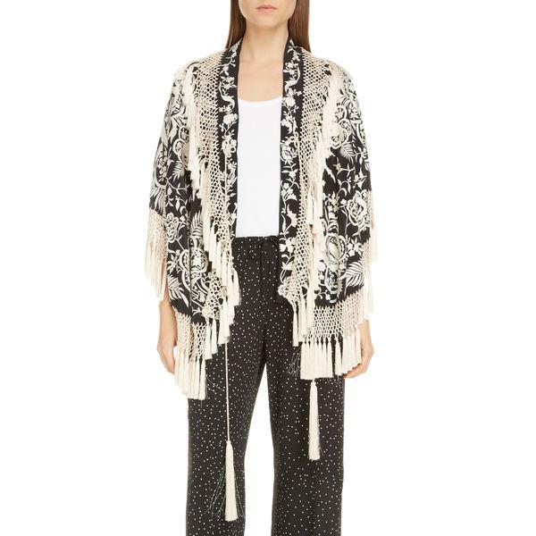 ドリス・ヴァン・ノッテン レディース ジャケット&ブルゾン アウター Faena Floral Embroidered Silk Tassel Jacket Black/ Ecru