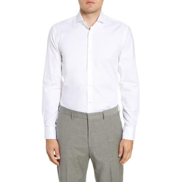 ボス メンズ シャツ トップス Slim Fit Solid Stretch Cotton Dress Shirt White