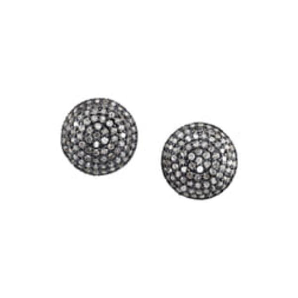 シェリルロエ レディース ピアス&イヤリング アクセサリー PavDiamond Dome Stud Earrings Sterling Silver
