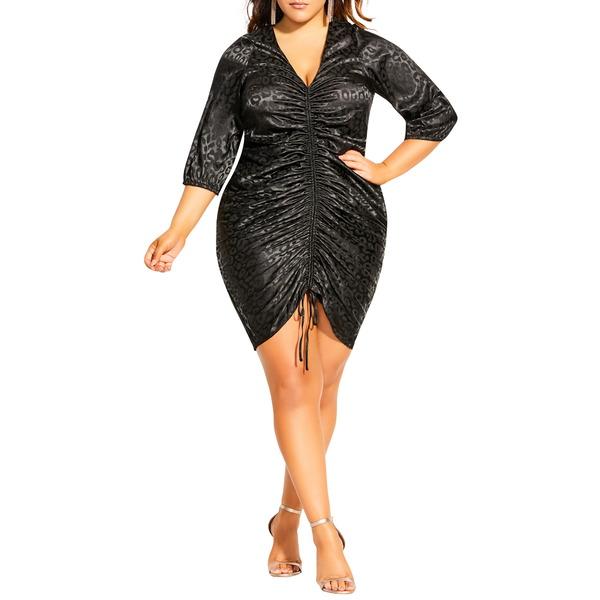 シティーシック レディース ワンピース トップス Vamp Appeal Ruched V-Neck Sheath Dress Black