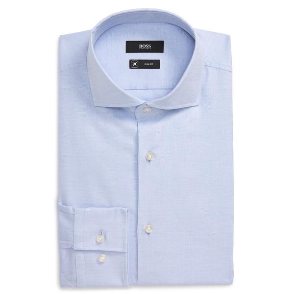 ボス メンズ シャツ トップス Slim Fit Solid Stretch Dress Shirt Blue