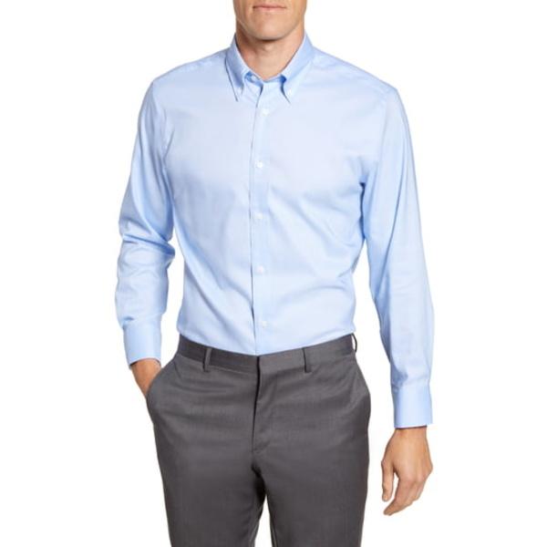 サイコバニー メンズ シャツ トップス Modern Fit Solid Stretch Cotton Blend Dress Shirt Medium Blue