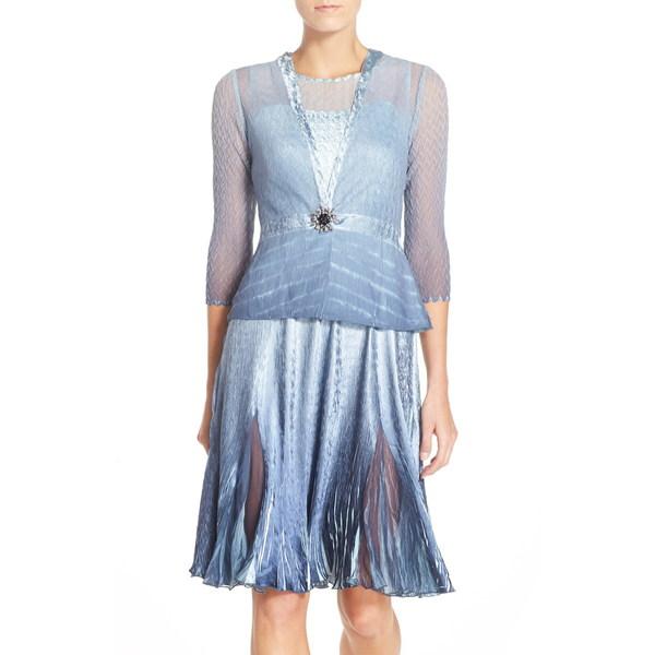 コマロフ レディース ワンピース トップス Charmeuse & Chiffon A-Line Dress with Jacket Blue Glass