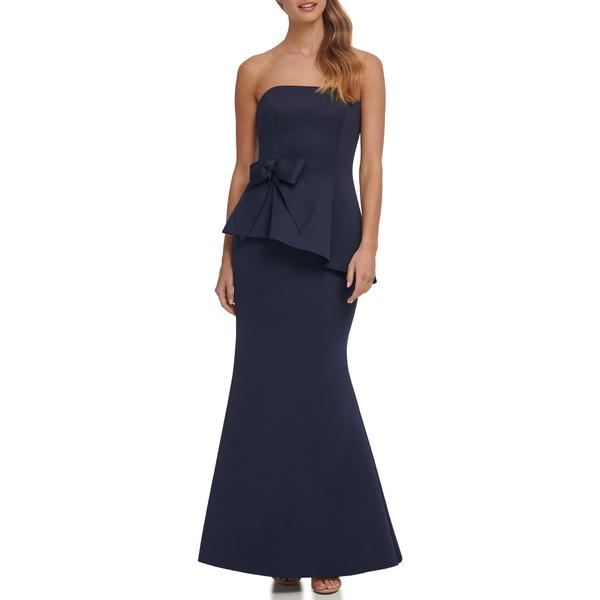 エリザジェイ レディース ワンピース トップス Strapless Peplum Waist Mermaid Gown Navy