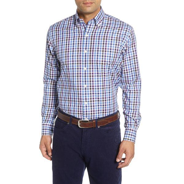 ピーター・ミラー メンズ シャツ トップス Baker Island Regular Fit Check Button-Down Sport Shirt Cascade Blue