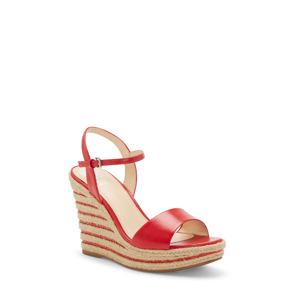 ヴィンスカムート レディース サンダル シューズ Marybell Platform Wedge Sandal Pop Red Leather