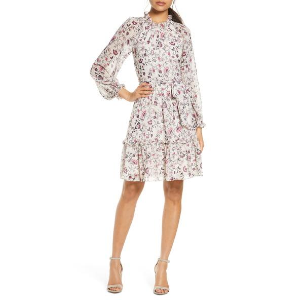 エリザジェイ レディース ワンピース トップス Floral Ruffle Long Sleeve Chiffon Dress Ivory