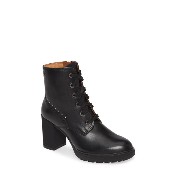 ピコリーノス レディース ブーツ&レインブーツ シューズ Sagunto Block Heel Combat Boot Black Leather