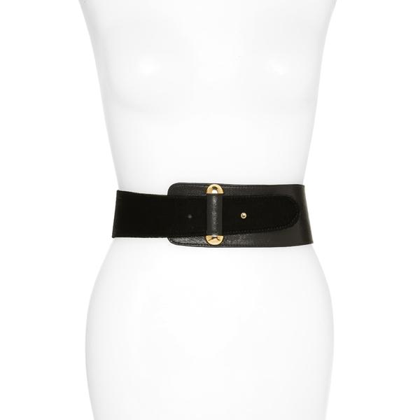 レイナ レディース ベルト アクセサリー Vixen Asymmetrical Velvet & Leather Belt Black