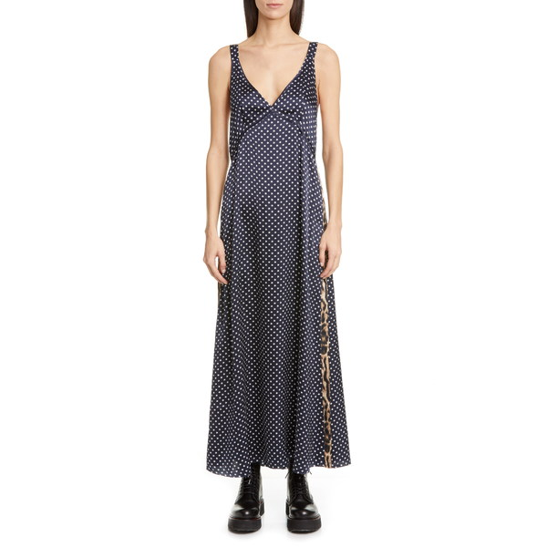 アールサーティーン レディース ワンピース トップス Leopard Side Stripe Star Print Silk Maxi Dress Navy Star W/ Leopard