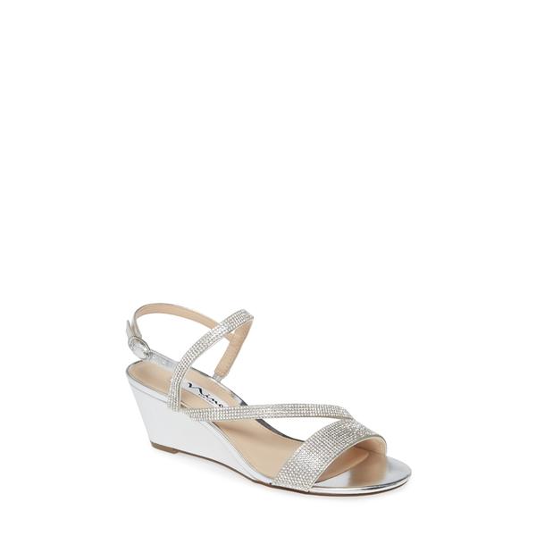 ニナ レディース サンダル シューズ Naloni Crystal Embellished Wedge Sandal Silver Fabric