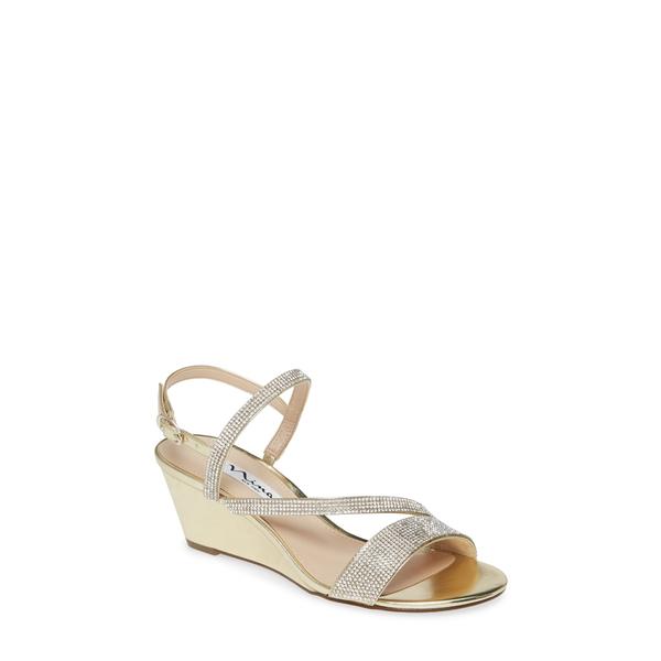 ニナ レディース サンダル シューズ Naloni Crystal Embellished Wedge Sandal Platino Fabric