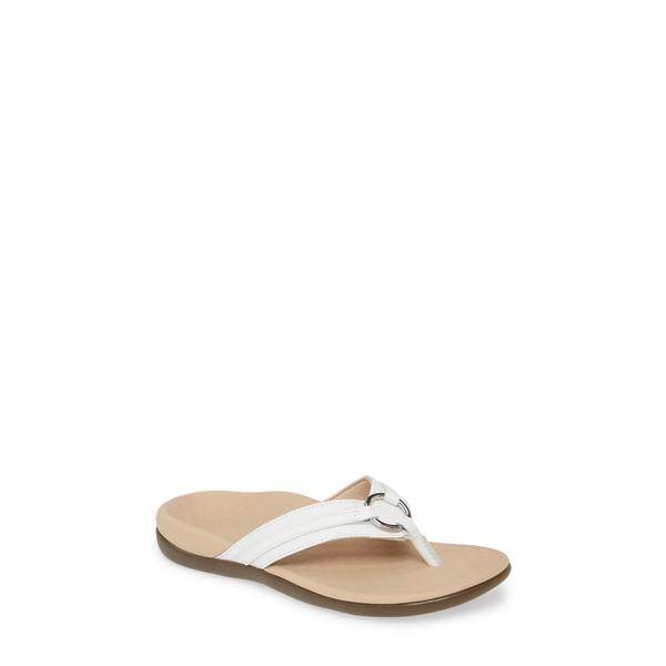 バイオニック レディース サンダル シューズ Aloe Flip Flop White Leather