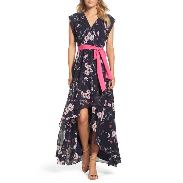 エリザジェイ レディース ワンピース トップス High/Low Floral Faux Wrap Maxi Dress Navy/ Pink