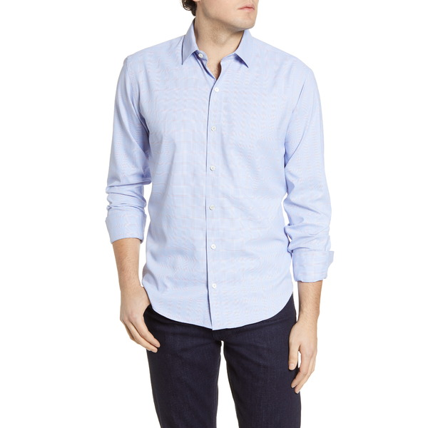 ブガッチ メンズ シャツ トップス Shaped Check Button-Up Performance Shirt Classic Blue