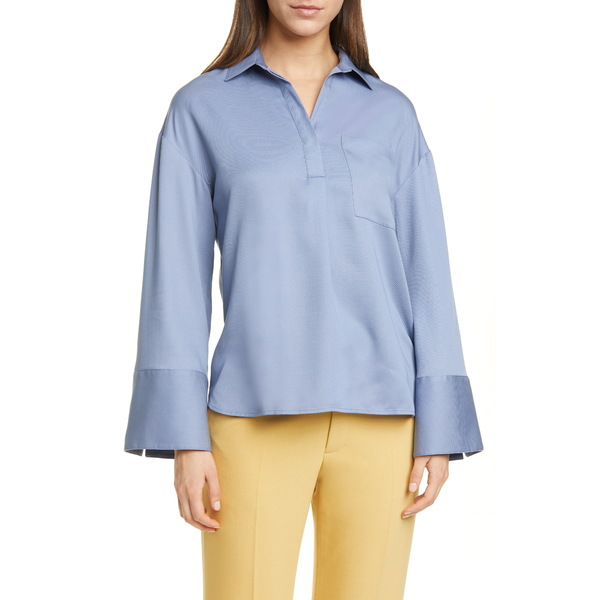クラブ モナコ レディース シャツ トップス Popover Pocket Shirt Cerulean Blue