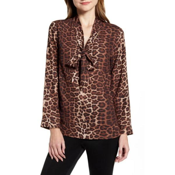 ミンウォン レディース シャツ トップス Leopard Print Tie Neck Shirt Coffee/ French Vanilla/ Cognac