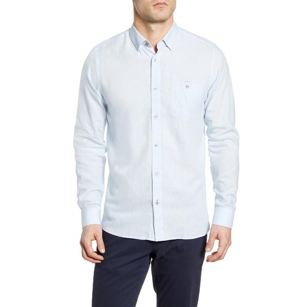 テッドベーカー メンズ シャツ トップス Notip Button-Up Linen Blend Shirt Blue