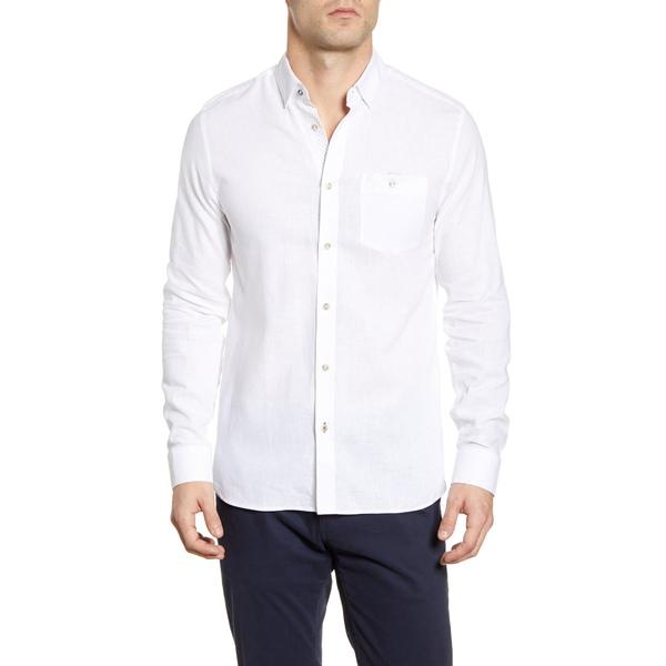 テッドベーカー メンズ シャツ トップス Notip Button-Up Linen Blend Shirt White