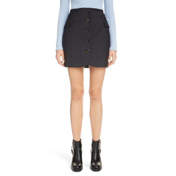 アクネ ストゥディオズ レディース スカート ボトムス Ivette Pinstripe Wool Miniskirt Navy Blue