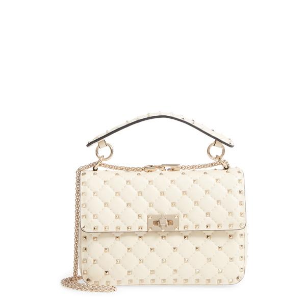 ヴァレンティノ ガラヴァーニ レディース ショルダーバッグ バッグ Medium Rockstud MatelassQuilted Leather Crossbody Bag Ivory