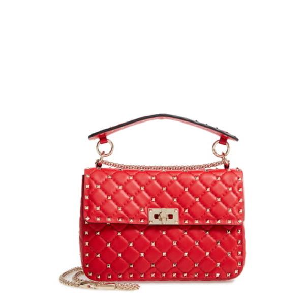 ヴァレンティノ ガラヴァーニ レディース ショルダーバッグ バッグ Medium Rockstud MatelassQuilted Leather Crossbody Bag Rouge Pur