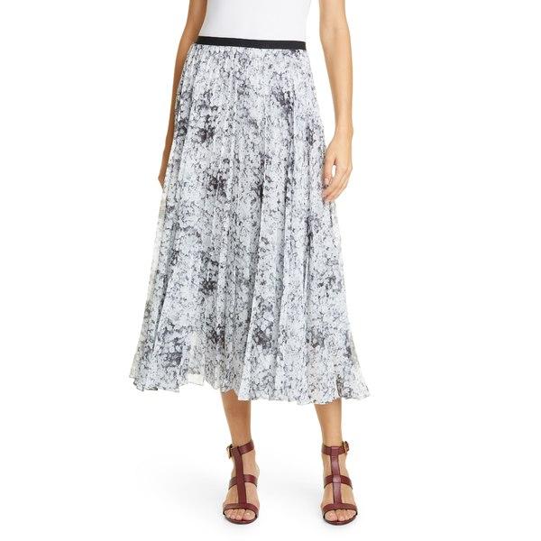 アダム リピズ レディース スカート ボトムス Pleated Floral Print Chiffon Midi Skirt Babys Breath