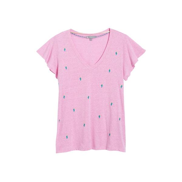 ウィットアンドウィズダム レディース Tシャツ トップス Wit& Wisdom Embroidered Flutter Sleeve T-Shirt Wild Blossom