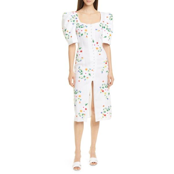 オールシングスモチ レディース ワンピース トップス Marisol Embroidered Linen Blend Midi Dress White Floral