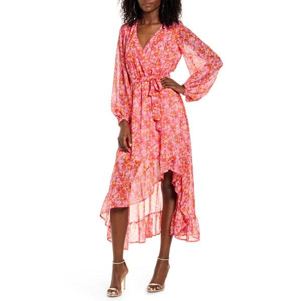 ヴェロモーダ レディース ワンピース トップス Anneline Long Sleeve High/Low Faux Wrap Dress Sea Pink