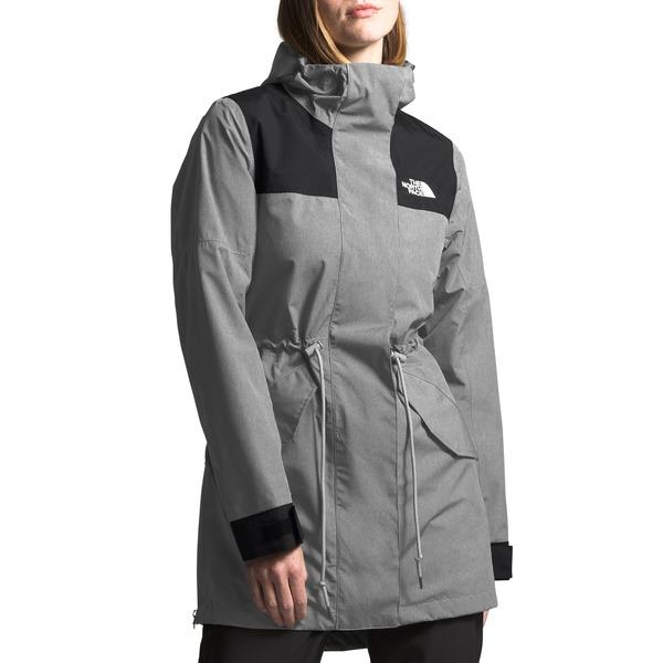 ノースフェイス レディース コート アウター Metroview Trench Water Repellent & Windproof Rain Coat Medium Grey Heather/ Black