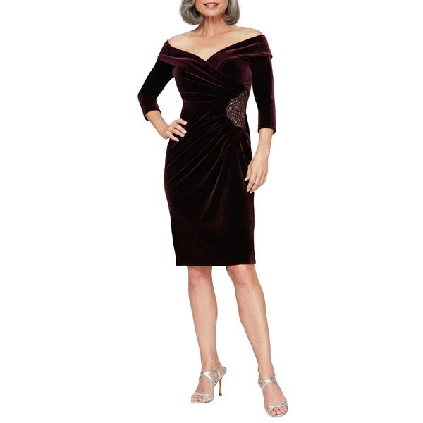 アレックスイブニングス レディース ワンピース トップス Off the Shoulder Velvet Cocktail Dress Aubergine